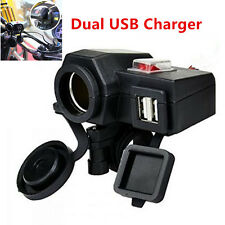 12V Motorcycle Cigarette Lighter 2 USB Charger Power Adapter Waterproof + Switch