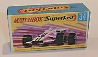 Matchbox Lesney Superfast 34  Formula 1 Racing Car Empty Repro G Style Box