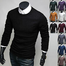 Mens New Fashion Slim Fit Knit Round Crewneck Sweater Long Sleeve Top E517 XS~XL
