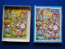 Vintage VICTORY Plywood Jigsaw Puzzle ' Teddie's Washday '  20 Pieces  1970's