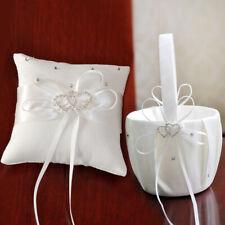 "Us Crystal Heart Bridal Wedding Party Flower Girl Basket Ring Bearer Pillow 7.8"""