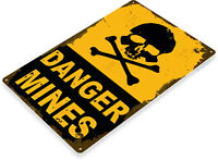 TIN SIGN A318 Danger Mines Metal Decor Warning Caution Dorm Bones Skull