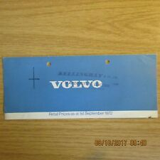 VOLVO 144 145 164 1800ES Saloon Estate Fastback Sports Coupe UK PRICE LIST 1972