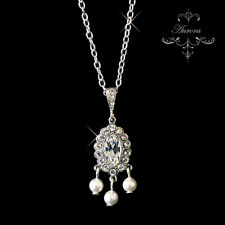 Swarovski Crystal Elements White Pearl Necklace Wedding 925 Sterling Silver
