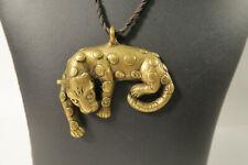 Großer Schmuckanhänger Leopard Ashanti DH01 Big Brass Bronze Pendant Afrozip