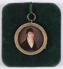 """Jean-Michel L'Eveque (b. 1772) """"Young gentleman"""", rare enamel miniature, ca.1800"""