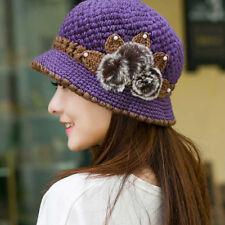 Ladies Women Winter Warm Crochet Knitted Ski Cap Flowers Decorated Ears Hat Cap