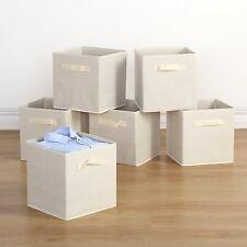 Storage Bins -  6 Pack Collapsible Cloth Storage Baskets, Dual Handles, Beige