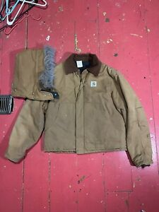 Vintage Carhartt Canvas Work Jacket Size M Brown Union Made USA Insulated Fur