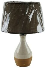 """Ceramic 18"""" Table Lamp and Shade Beige 2-Tone Finish Night Stand Counter U/L"""