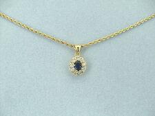 Collana Oro Giallo Donna Ciondolo Ovale Punto luce Cristallo Blu 10 Zirconi
