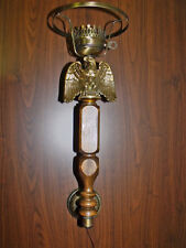 Exquisite Wood & Brass Electric Wall Lamp Sconce Vintage Mid Century