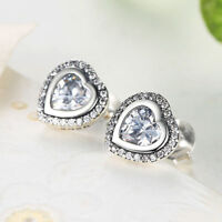 Authentic 925 Sterling Silver Sparkling Love Clear AAA CZ Heart Stud Earrings