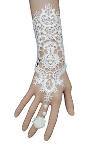 Women White Lace Fabric Hand Chain Flower Fashion Jewelry Bracelet Slave Ring