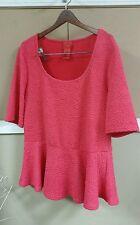 V CRISTINA Large dress shape top pink/ red short sleeve