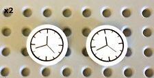 LEGO Lot x2 WALL CLOCKS White 2x2 Round Tile Kitchen Friends City Minifig House