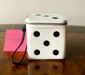 Collectible NWT Kate Spade ROLL THE DICE 3D Leather Dot Zip Around Dice Wristlet