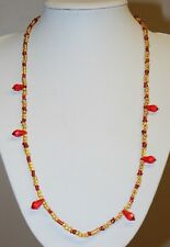 Yellow & Red Glass Bead Necklace With Ruby Red Faceted Teardrop Dangles Vintage