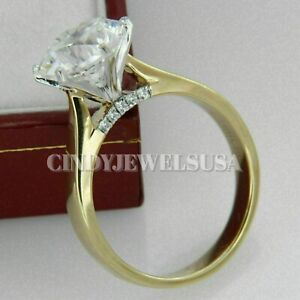 1.20 Ct Round Cut VVS1 Diamond Solitaire Engagement Ring 14k Yellow Gold Finish
