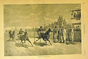 Horse Racing, Sulkies, A Horse Trot by Frenzeny, Vintage 1881 Antique Print