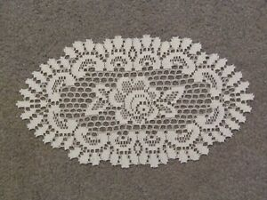 """White Lace Rose Design Table Doily 13.5"""" x 7.5"""""""