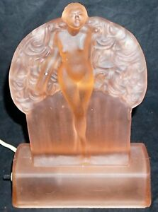 Sarsaparilla Reproduction of a Sally Rand Nude Feather Dancer Lamp Pink Glass