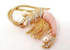 Vintage Hattie Carnegie Pearls Rhinestone Shrimp Crayfish  Pin Brooch