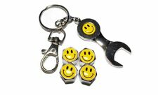 Smile Head Face 4PCS Metal Tire Air Valves Stems Cap Universal Fit With wrench