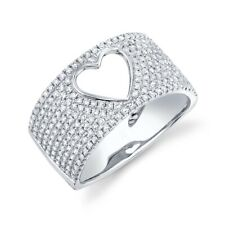 14K White Gold Diamond Open Heart Wide Ring Band Womens Right Hand Ring 0.70Ct