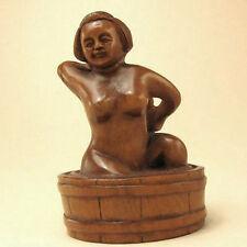 "1940's Japanese handmade Boxwood Netsuke ""NUDE LADY"" Figurine Carving"