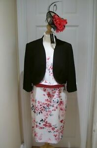 14/16 Jacques Vert Dress Fascinator Jacket Black Pink Mother of the Bride Suit