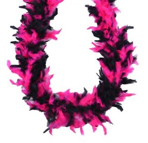Hot Pink and Black Chandelle Feather Boa 45 gm 72 in 6 Ft