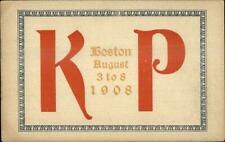 Fraternal - Boston MA K of P Knights of Pythias August 1908 Postcard