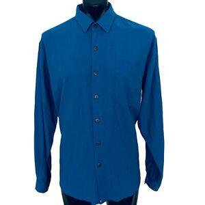 Men's HEMP L/S shirt sz XL blue cannabis sativa 55% hemp 45% rayon natural fibre