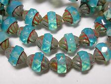 15 12x10mm Czech Glass Faceted Aqua Opal Picasso Turbine Beads