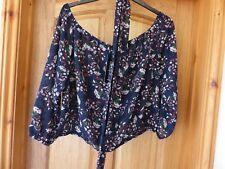 BOOHOO BLUE FLORAL BARDOT TIE NECK TOP SIZE 20  - BRAND NEW WITH TAGS