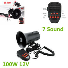 Portable 12V 150DB 7 Sound Car Warning Police Fire Siren Horn PA Speaker System