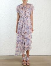 Zimmermann Lilac Orchid Floral Silk Ruffle Flutter Dress Size 0/ US 4 $1,200