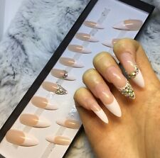 French Tip Diamante False Fake Extra Long Stiletto Nails Set