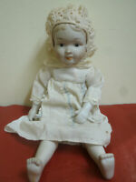 Antica Bambola Bambina Testa,Piedi in Porcellana con Vestito 36cm Antique Child