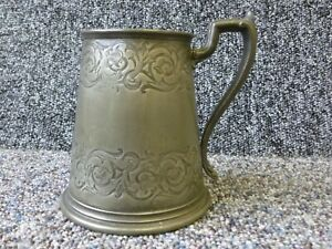 Antique Victorian Pewter Tankard with Conical Engraved Sides GCS Makers Stamp