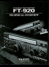 Yaesu FT-920 HF+50 MHz All Mode Transceiver Radio Technical Overview BROCHURE