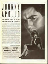 1940-Vintage Ad~Johnny Apollo, Dorothy Lamour, Tyrone Power (121314)