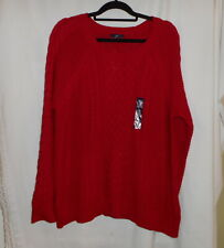 THE GAP RED CABLE KNIT PULLOVER SWEATER WOMEN'S SIZE XXL NEW