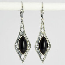 Ohrringe Ohrhänger lang Silber Altsilber Glasstein Vintage retro – Jet – schwarz