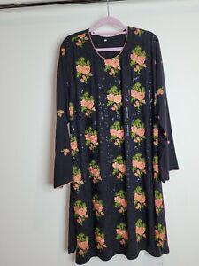 Ladies Pakistani Sequin Kurta Size Large 16 Black Party wear