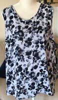 LOFT Plus Blue Floral Mixed Media Sleeveless Blouse Tank Top Size 16/18 2X