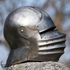 VINTAGE CLOSED SALLET HELMET MEDIEVAL KNIGHTS ARMOUR HELM LARP ROLE PLAY COSTUME