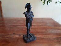 """Antique 19th C De Braux FR signed Bronze Statue General Napoleon 9.5"""" Statuette"""