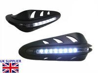 Motorcycle Quad ATV Handguards Protectors LED Daytime Running Lights BLACK PAIR